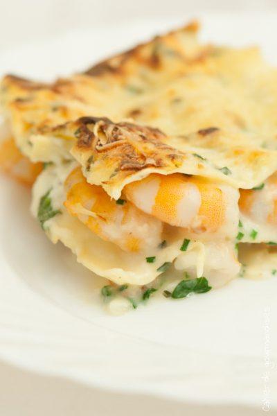 Lasagnes aux crevettes et sauce légère