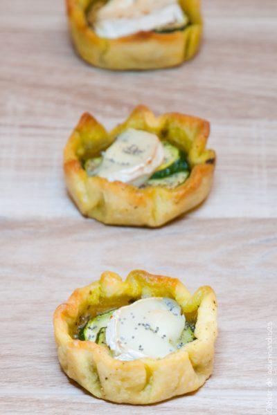 Tartelettes courgettes pesto chevre