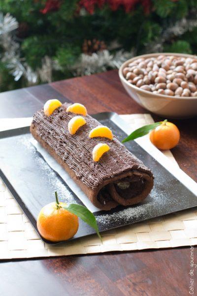 Bûche de Noël chocolat clémentines
