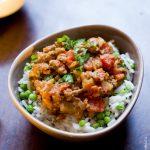 Curry express de boeuf, riz aux petits pois