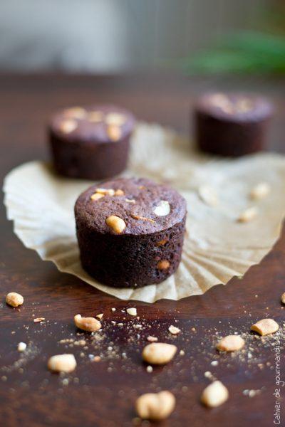 Muffins au cacao et cacahuètes salées