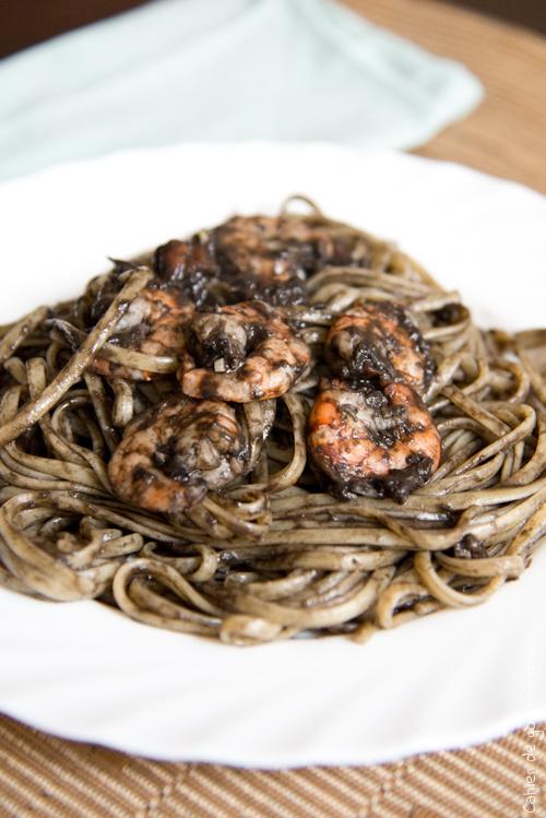Pates Encre Crevettes - Cahier de gourmandises
