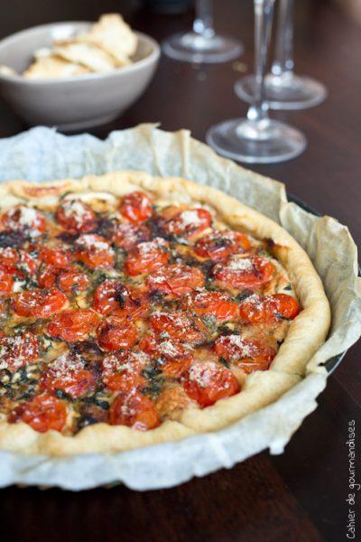Tarte fine aux tomates cerises et parmesan