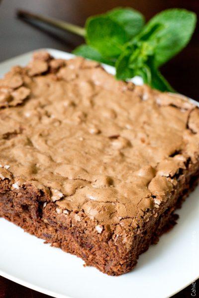 Brownies chocolat, noisettes et menthe