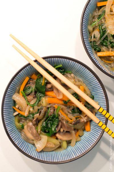 Japchae… aux légumes mais sans oeuf !