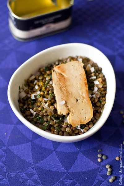 Lentilles au curry & foie gras minute
