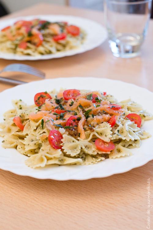Pates Pesto Tomates Cerises Et Saumon