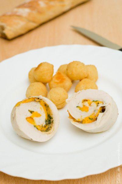 Paupiettes de poulet, mimolette  & estragon