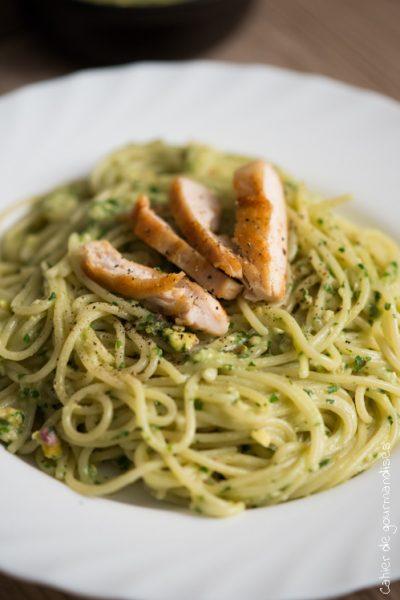 Spaghettis poulet et sauce végétale