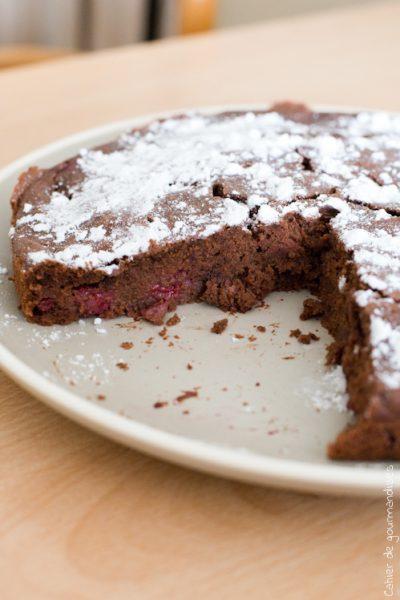 Gâteau ricotta au chocolat & framboises