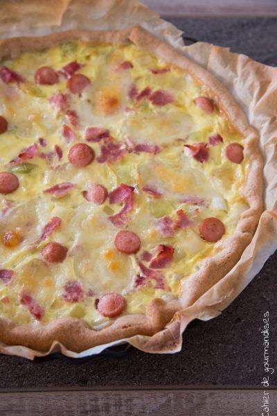 Quiche aux poireaux, jambon et mozzarella
