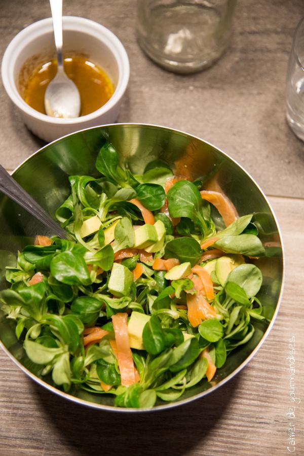 Salade de mache au saumon