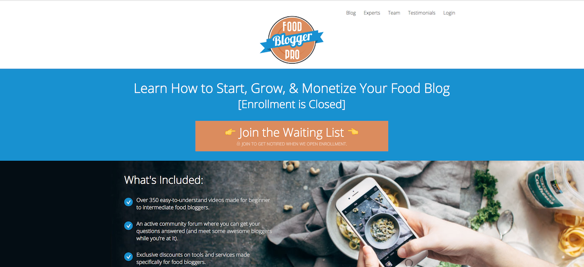 Liste d'attente Food Blogger Pro