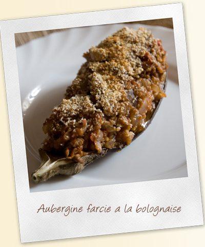 Aubergine farcie à la bolognaise