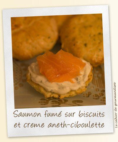 Biscuits & crème aneth-ciboulette et saumon fumé