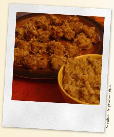 Brochettes de poulet soja et cacahuètes