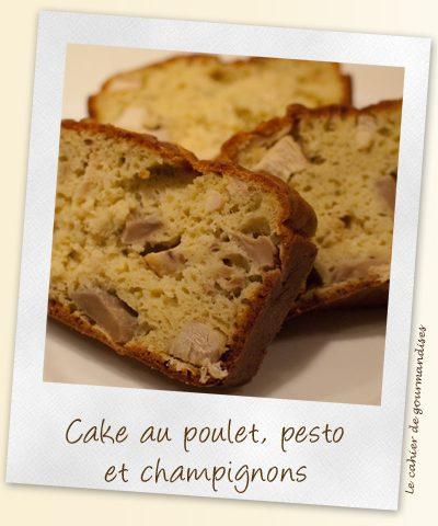 Cake au pesto, poulet et champignons