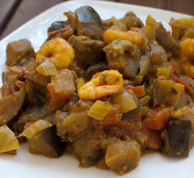 Curry d'aubergine et crevettes aux saveurs indiennes