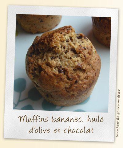 Muffins banane huile d'olive aux pépites de chocolat