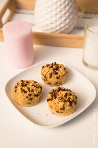 Muffins healthy aux pépites de chocolat et flocons d'avoine