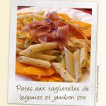 Pates aux tagliatelles de légumes et jambon cru