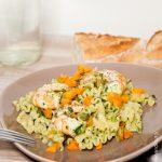 Pates aux carottes, épinards et crevettes