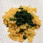 Pâtes aux épinards et chorizo grillé, sauce ricotta
