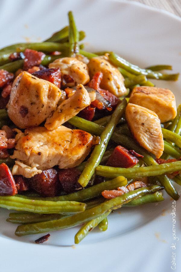 Poulet saut aux haricots verts et chorizo - Cuisiner haricots verts surgeles ...
