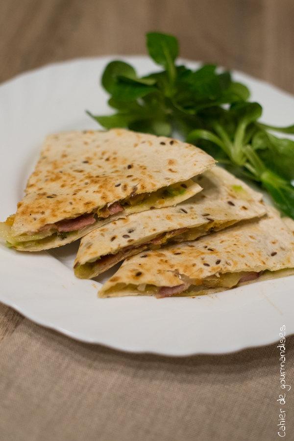 Quessadillas guacamole cheddar lard | Cahier de gourmandises