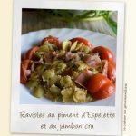 Ravioles au piment d'Espelette et au jambon cru