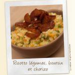 Risotto aux légumes, fromage ail et fines et herbes et chorizo