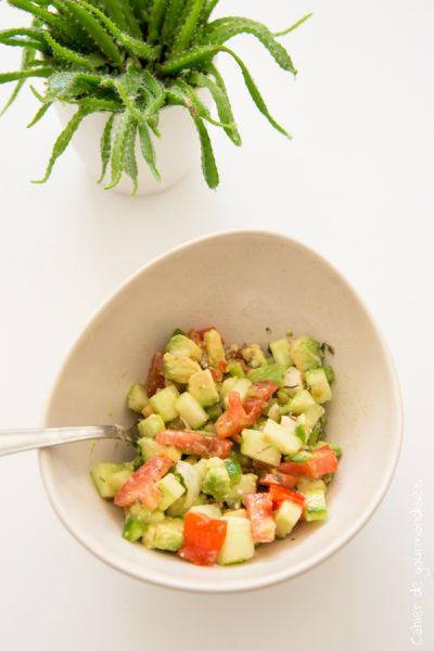 Salade de tomates, courgette et avocat