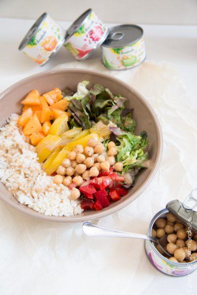 Salade de riz et légumes frais & pois chiche Bonduelle | Cahier de gourmandises