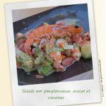 Salade aux pamplemousse, avocat et crevettes