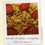 Salade de pâtes aux courgettes, chorizo et feta