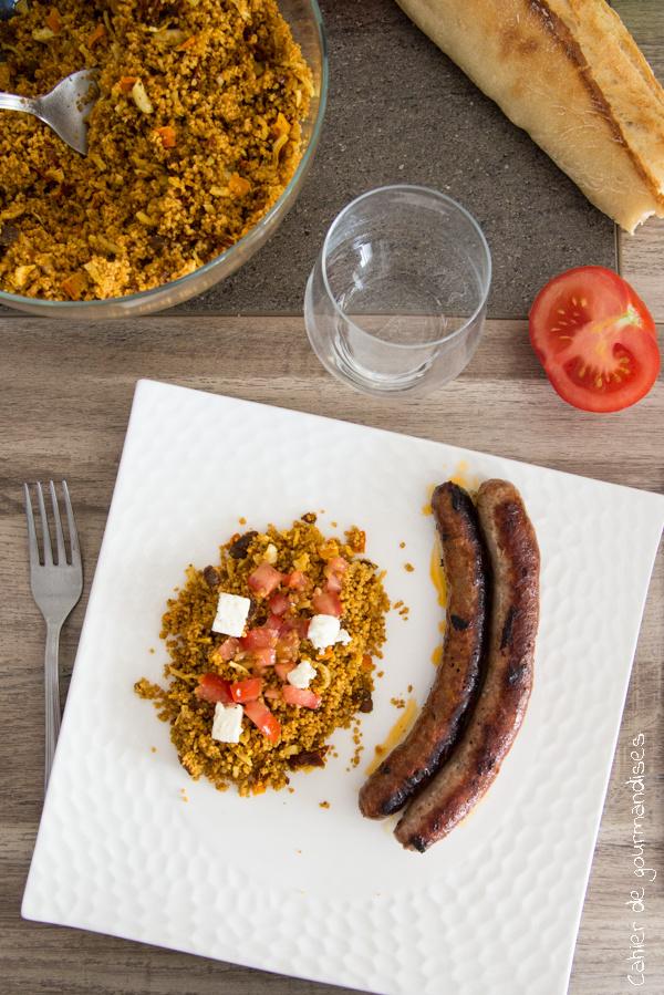 Semoule d'épeautre à la feta et tomates | Cahier de gourmandises