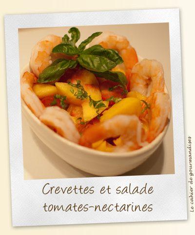 Crevette & salade de tomates et nectarines