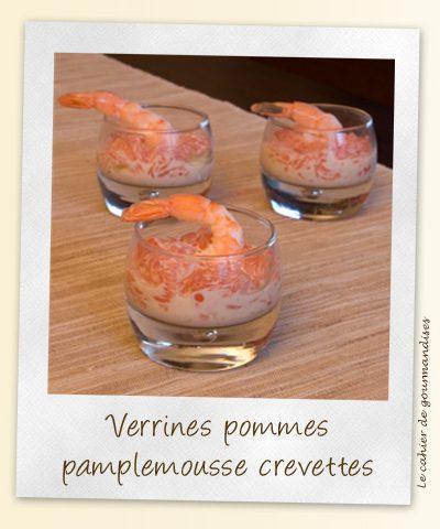 Verrines de crevettes au pamplemousse et à la pomme